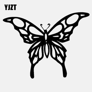 YJZT 13.6CM*10.3CM Butterfly Holographic Vinyl Decal Car Sticker Window Black/Silver C24-0360 image
