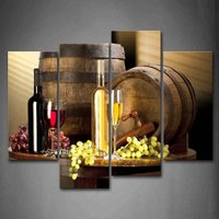Various Wine With Grape Wall Art Painting Pictures Print On Canvas Food The Picture For Home