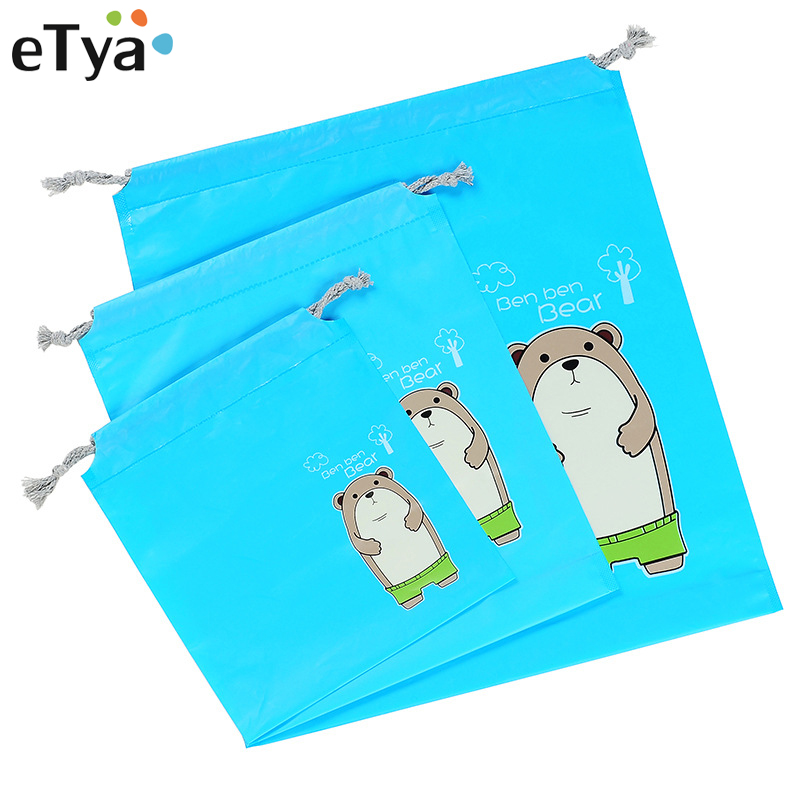 eTya New Cartoon Kids Drawstring Bag Multifunction Women Travel Makeup Pouch Cosmetics Storage Bags Female Clothing Shoes Bags все цены