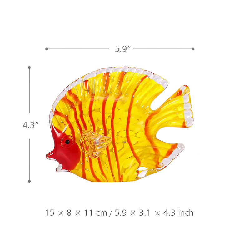 Multicolor Yellow Fish Figurine Ocean Animal Statue Art Sculpture Handblown Glass Craft Home Decoration For Living Room R482