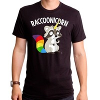 2018 Short Sleeve Cotton T Shirts Man Clothing New Authentic Raccoon As Unicorn Raccoonicorn Adult T