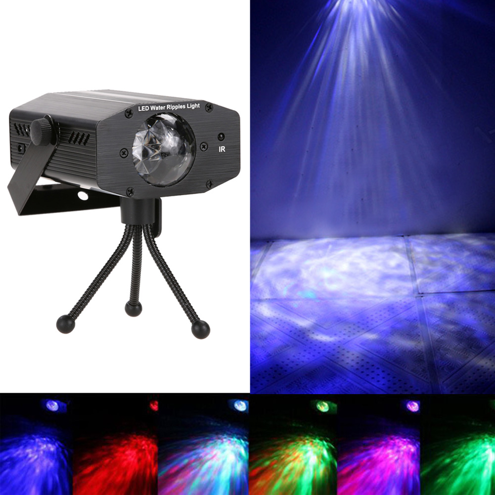 Remote Stage Ligting 12w RGB LED Water Wave Effect Stage Light Laser Projector Lights For Disco Ballrooms KTV Bars Party 2016 aurora water wave effect laser light professional stage dance lighting sky rgb led party disco atmosphere lights
