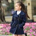 2016 Abrigo de Invierno para Niñas Estilo Larga Caída del Otoño Outwear Cazadora Chaqueta Adolescentes para Los Niños de Edad 4 5 6 7 8 9 10 11 12 T Años de edad