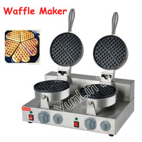 Electric Double Head Waffle Oven 185mm Plate Cake Heating Machine Round Waffle Maker Hot Sale Furnace FY 2