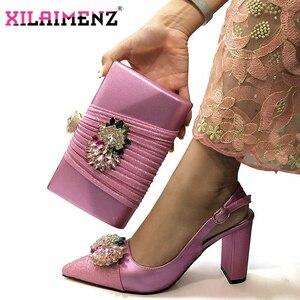 Image 3 - Hoge Kwaliteit Vrouw Luxe Kristal Schoenen En Portemonnee Set Voor Party Nigeriaanse Schoenen Bijpassende Tas Hoge Hakken Bruiloft Schoenen En tas Set