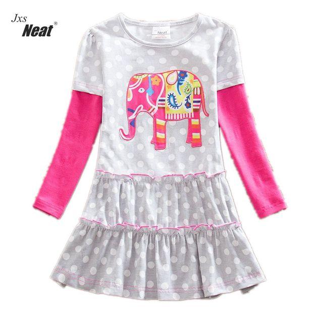 d835466271d NETTE groothandel Nieuwe baby meisje kleding college stijl Mooie meisjes  jurken kinderkleding Lange mouw jurk cartoon