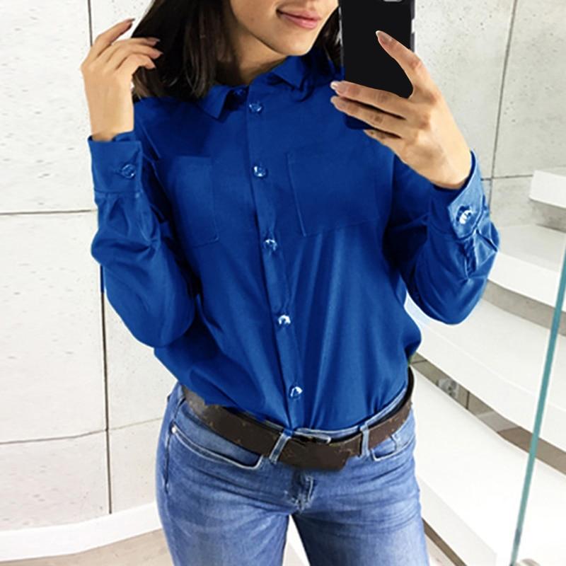 Turn Blue Elegantes Mujeres rojo Completa Down Tops negro navy Más Causal blanco Bolsillos azul Camisa Botón Las Tamaño Y Femenino Sj594f Blusa rosado verde Blusas Manga Collar Beige Axwq5q8g