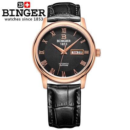 Здесь можно купить   2017 New Arrive Binger Wristwatch Men Bling Cow Leather Analog Automatic Switzerland WristWatch Charm Watches For Father Gifts Часы