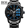 ANGELA BOS Chronograph Three Multi-function Dial Sport Watches Men Luxury Brand Stainless Steel Shockproof Waterproof Watch Man