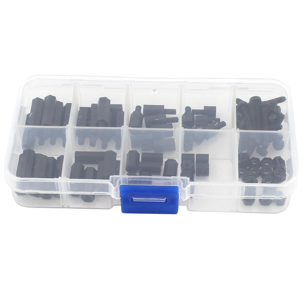 88Pcs M3 Black Nylon Hex Spacers Screw Nut Stand-off Assortment Kit Screws Set With Plastic Box For Electronics Computers PC