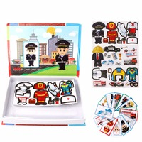 Uniform Figure Magnetic Puzzle Policeman Firefighter Worker Kids Learning Toys Children Educational Toy