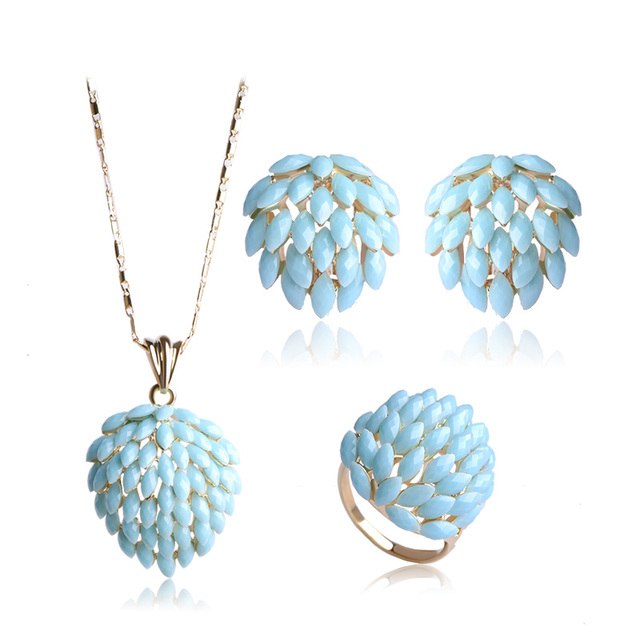 Blucome Flower Jewelry Set...