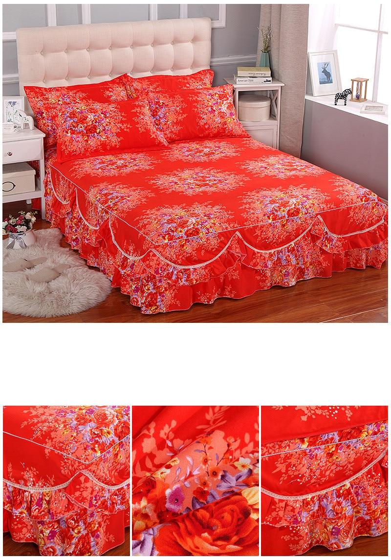 Saten Yatak Örtüsü Kırmızı 2019
