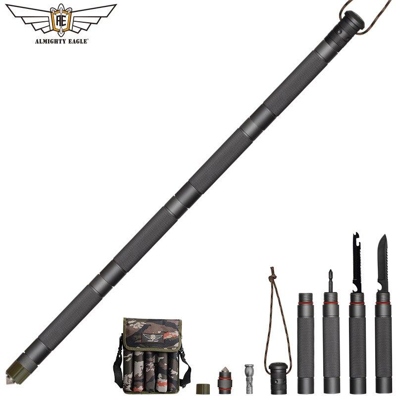 Aigle tout-puissant défense extérieure bâton tactique Alpenstock randonnée Camping équipement multifonctionnel outils pliants bâtons de marche