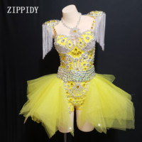 2019 Fashion Design Neon Yellow Rhinestone Outfit Leotard Skirt Stage Show Shoulder Pads Dance Wear Chains Fringes Clothing Set