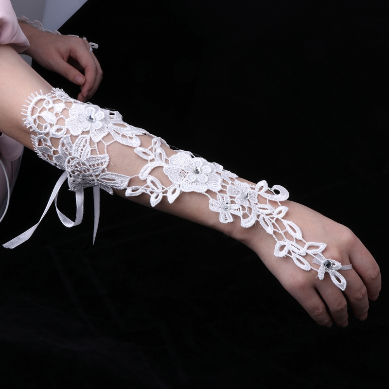 Wedding Bride Gloves Lace Bridal Dress Luxury Long Fingerless Accessories Party