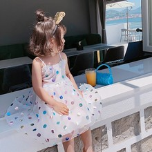 цены на Cute Children Summer Girls Cotton Polka Dot Glitter Princess Bottoming Sleeveless Sling Princess Dress 2-7Y Toddler Girl Clothes  в интернет-магазинах