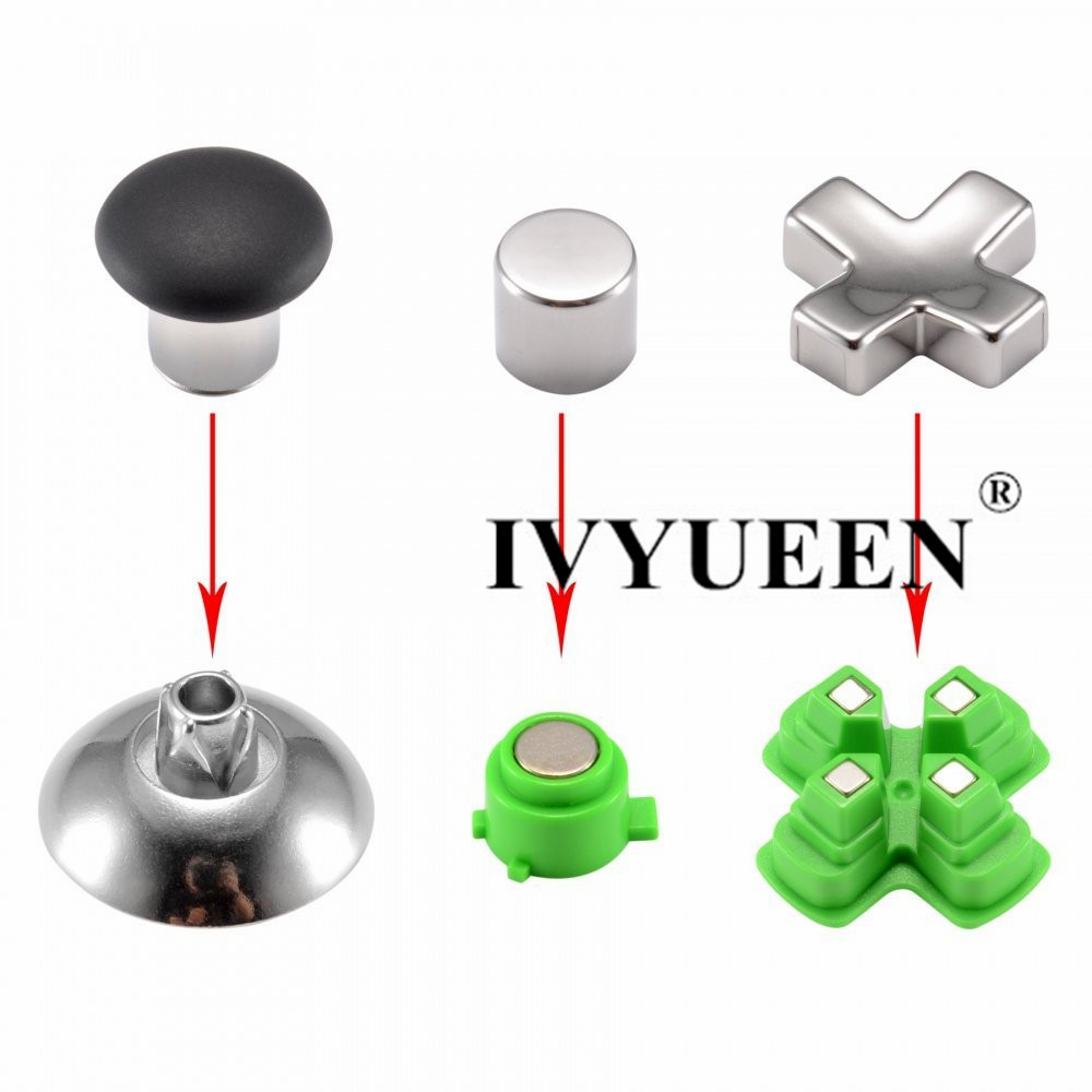 cheapest IVYUEEN Magnetic Metal Analog Thumb Sticks Grips Replacement Parts Buttons Mod Kits for Dualshock 4 PS4 Pro Slim Controller