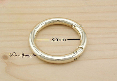 Spring Gate Ring Snap Clip Trigger alloying light gold 1 1/4 inch 2 pcs AT52