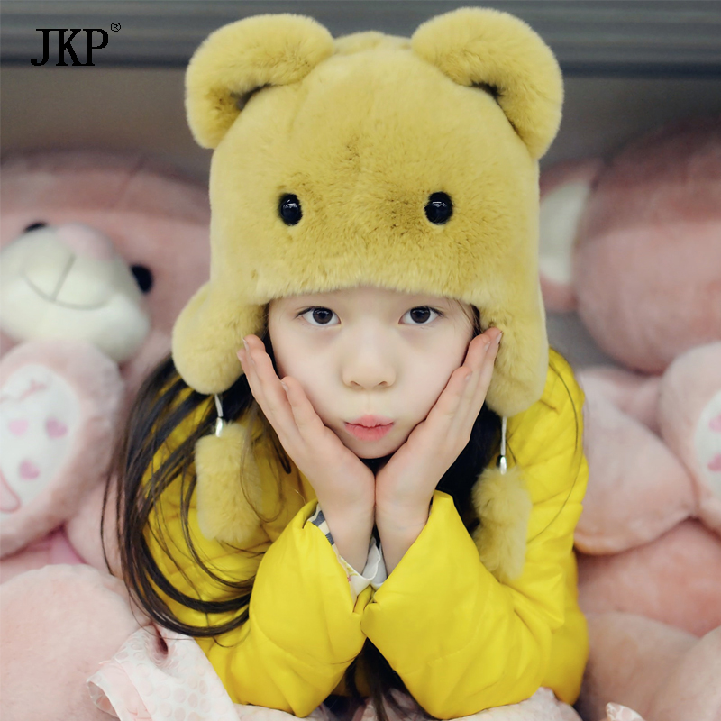 JKP2018 New winter luxury genuine Rex Rabbit Bear Hat Plush cute warm cap boys and girls girt free shipping Handmade hat HT-08 doubchow adults womens mens teenages kids boys girls cartoon animal hats cute brown bear plush winter warm cap with paws gloves page 7