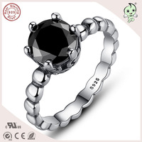 Good Quality Very Popular European Simple Design S925 Sterling Silver Black Gem Stone Ring
