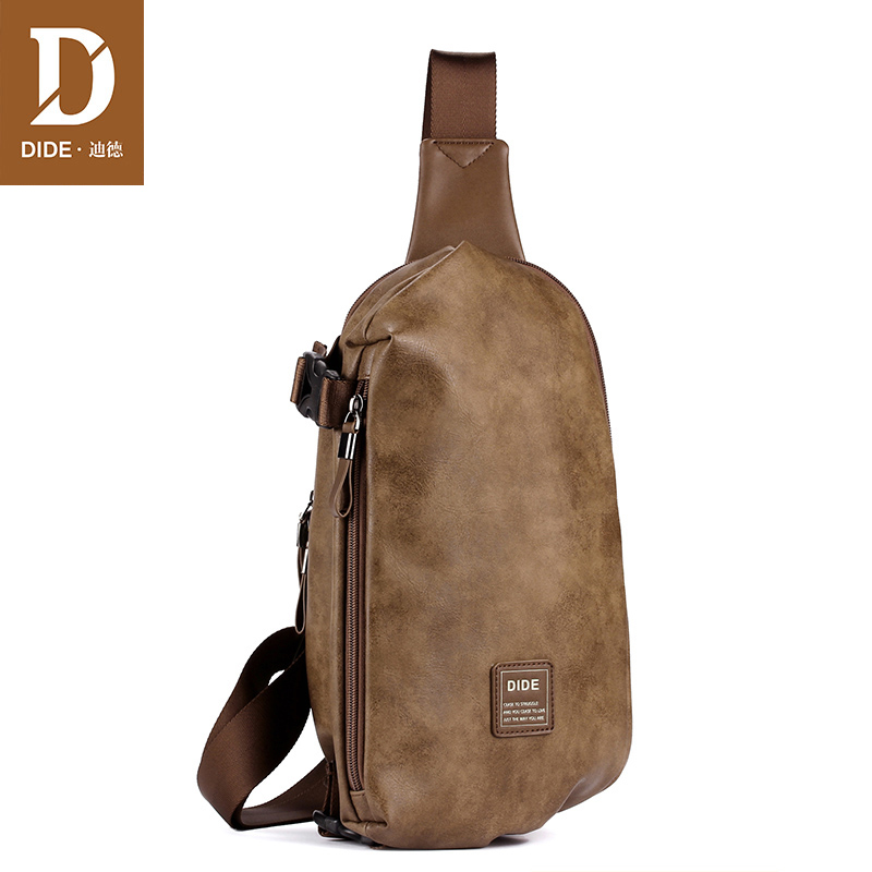 DIDE Fashion Summer Bag Men Chest Pack Single Shoulder Strap Back Bags Leather Travel Crossbody Vintage Style  DQ797
