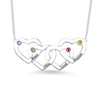 Wholesale Couple's Four Women Hearts Necklace In Sterling Silver Birthstones Pendant For Girlfriend Christmas White Gold Color