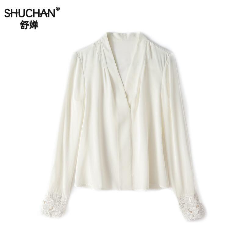 Shuchan soie blanc col en V haut uni vêtements de travail moderne dame pulls à manches longues Blouse bohème Ol travail Blouses élégantes R10139