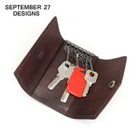Key Wallets Top layer Leather cowhide male Keys wallets Women Housekeeper Holder Keychain Male Hasp key case pouch card holders