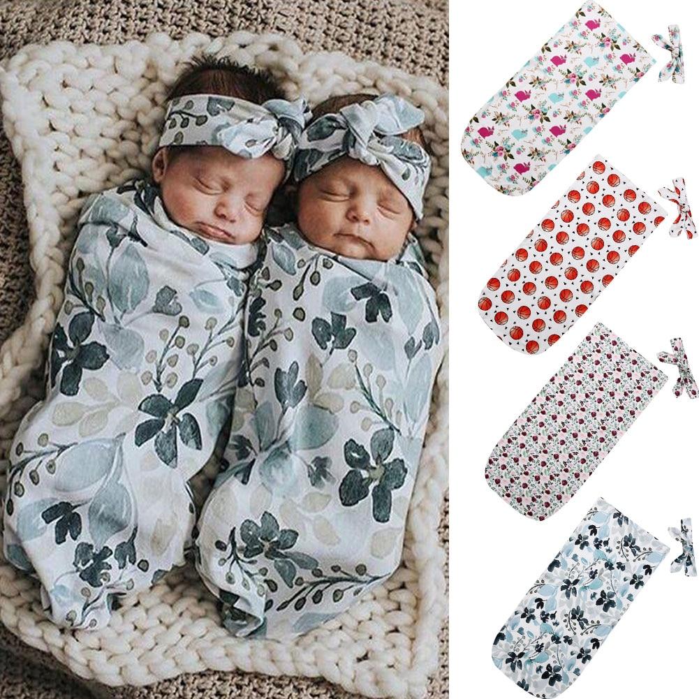 US Newborn Infant Baby Girl Swaddle Sleeping Bag Wrap Sleepsack Romper Headband