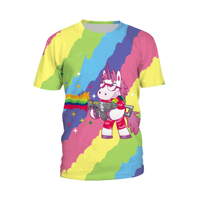 9a24fc764f4 New Top Unicorn Rainbows T-Shirt Women Summer Print Novelty Short Sleeve Shirt  Dabbing Unicorn Tops Plus Size Tee Clothes H008
