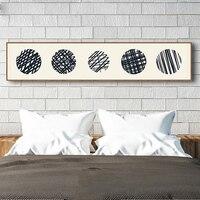 Haochu retro beige japonés Líneas geométricas círculo negro paja lienzo pintura grandes banners cartel de pared para dormitorio Decoración para el hogar