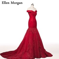Burgundy Mermaid Evening Dresses 2017 Off shoulder Beautiful Prom Gowns For Women Wear Formal Elegant Party Lace Red Carpet