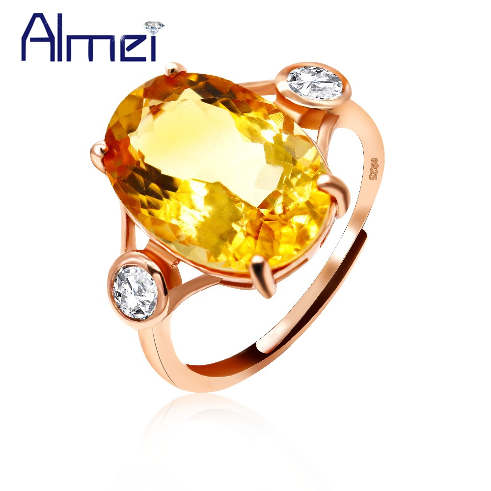 Uloveido 925 Sterling Silver Rings for Women Yellow Citrine Ring Female Rose Gold Color Oval Wedding Jewellery Gifts CJ051Uloveido 925 Sterling Silver Rings for Women Yellow Citrine Ring Female Rose Gold Color Oval Wedding Jewellery Gifts CJ051