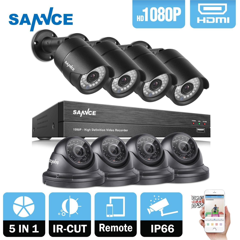 SANNCE 8CH 1080 P 2MP CCTV DVR Enregistreur 4 PCS 1080 P HD 1920*1080 Dans/Extérieure de Sécurité Bullet Caméra Dôme Système & 1 TB HDD Onvif