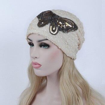 Turban Hat Women Beanies Butterfly Knitted Cap Autumn Warm Caps 1