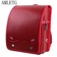 AMLETG кулоновского ортопедические Школьные сумки Детский рюкзак мальчиков и девочек рюкзак PU HASP Японии Randoseru Детская сумка Mochila