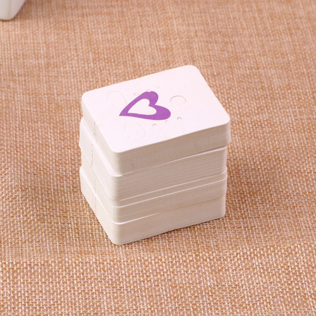 Sole Custom Earring Display Cards 200pcs Lot White With Print Purple Heart Paper Jewelry Dispaly