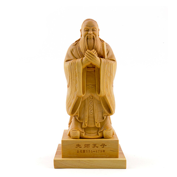 Confucius statue Chinese historical sculpture wooden ornaments decorative solid wood  Institute teaching tools