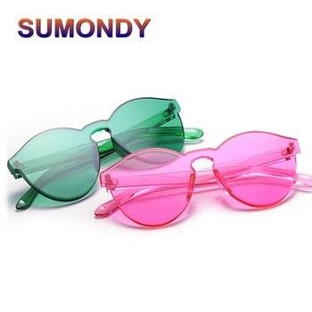 145b4ef062 SUMONDY Vintage ultrafino transparente caramelo-color gafas de sol mujer  marca diseñador integralmente se formó