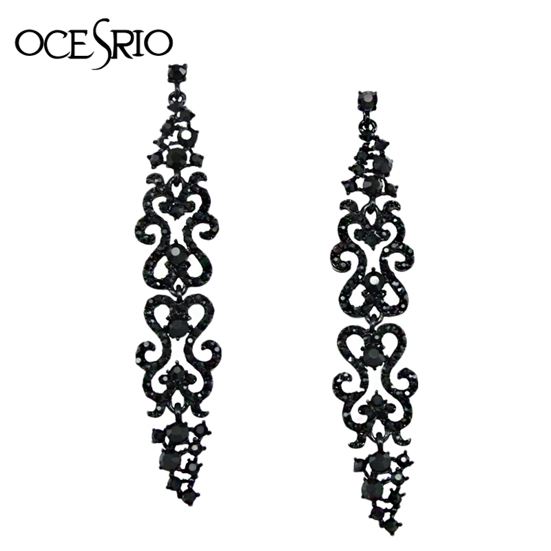 Ocesrio Pave Black Long Earrings For Woman Rhinestone Crystal Vintage Punk Gothic Women Jewelry Oorbellen Ers H20 In Drop From