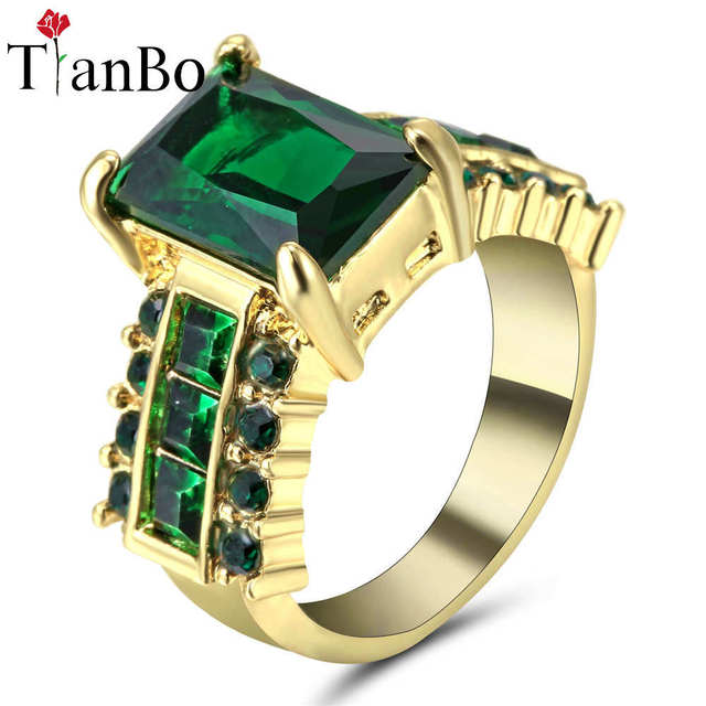US $1.06 20% OFF TianBo Female Green / Sky blue CZ Ring Fashion White &  Black & Gold Colour Vintage Wedding Rings For Women Birthday Stone Size  7-in ...