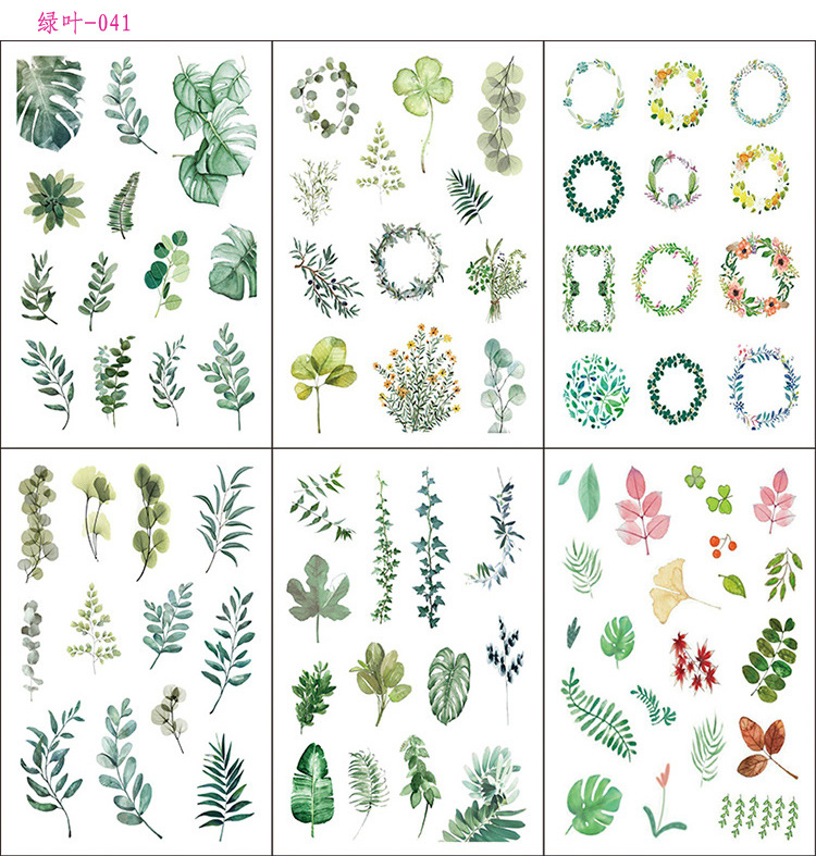 6 Pcs/pack Beautiful Green Leaves Decorative Stationery Stickers Scrapbooking DIY Diary Album Stick Lable