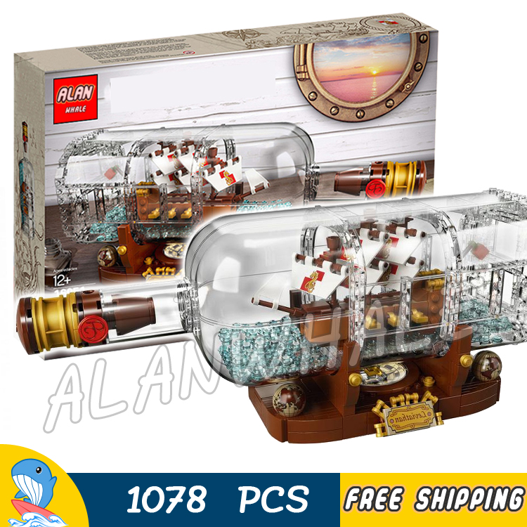 1078pcs Ideas Ship in a Bottle 16051 DIY Model Building Kit Blocks Gifts Toys Sets Compatible With lego 8 in 1 military ship building blocks toys for boys