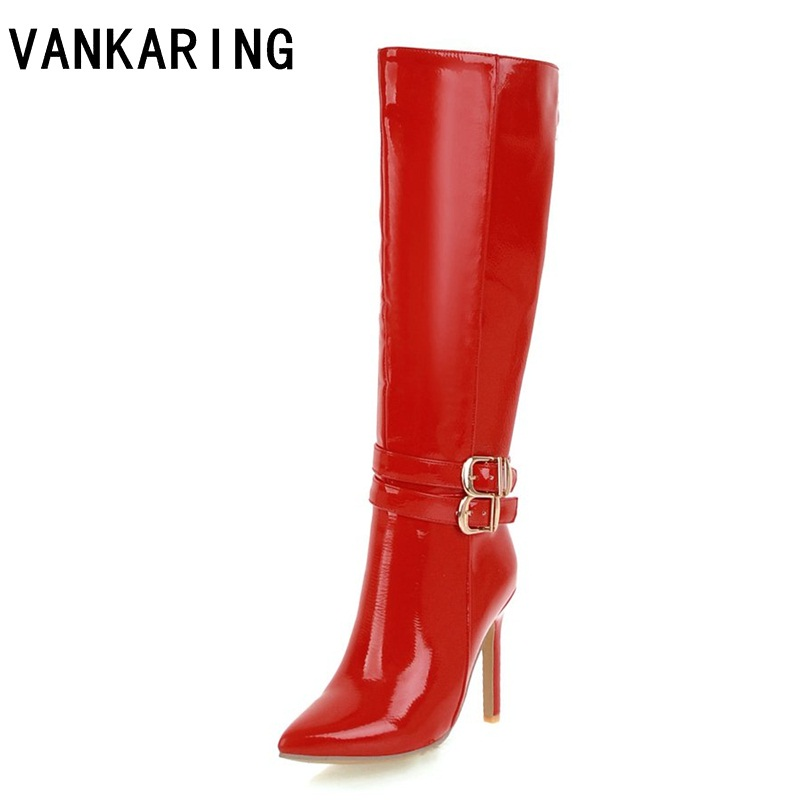 VANKARING autumn winter fashion knee high boots sexy high heels dress shoes woman black red zip motorcycle dance boots big size anmairon new cow split women boots shoes high heels knee high autumn winter boots big size 34 40 boots flats tassel zip black