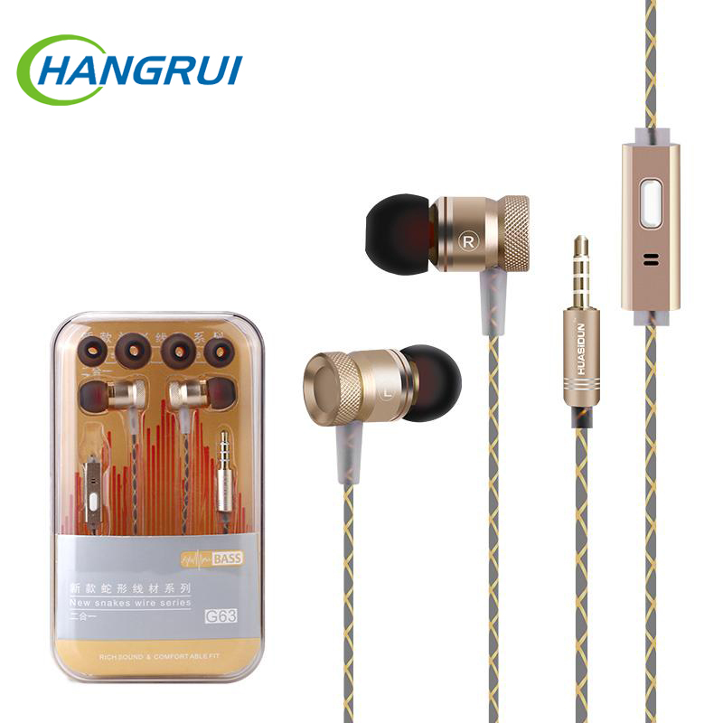 Original G63 metal bass earbuds Microphone Stereo Bass earphones for iPhone 6s for Samsung Huawei Xiaomi piston Sport earphones samsung rl 63 gcbmg