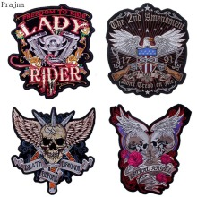 Prajna Rock Band Patch Motorcycle Iron On Embroidered Patches For Clothes Stripes Big Skull Applique Jacket Back DIY Badge