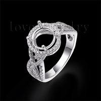 Solid 14Kt White Gold Natural Diamond Engaement Semi Mount Ring Mounting Round 7 5mm For Sale