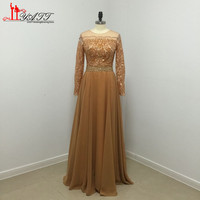 2016 New Design Lace Evening Gowns Golden Off Shoulder Long Sleeve Chiffon A Line Formal PArty