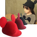 New Fashion 100% Wool Women's Fedora Hat Autumn Winter mickey Cat ear animal Cap IN Stock Free Shipping